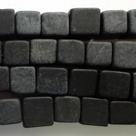 16 Inch Natural Black Stone Cube Beads 8mm